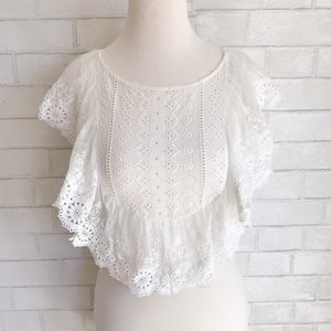 Altar'd State Sydni Lace Boho Crop Top Small